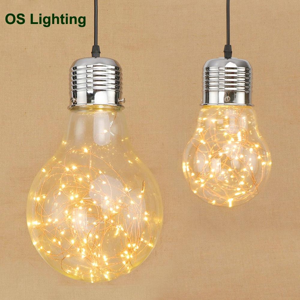 Personnalité créative pendentif lumières fer verre grande ampoule vintage lampe bar russe entrepôt grandes lampes suspendues