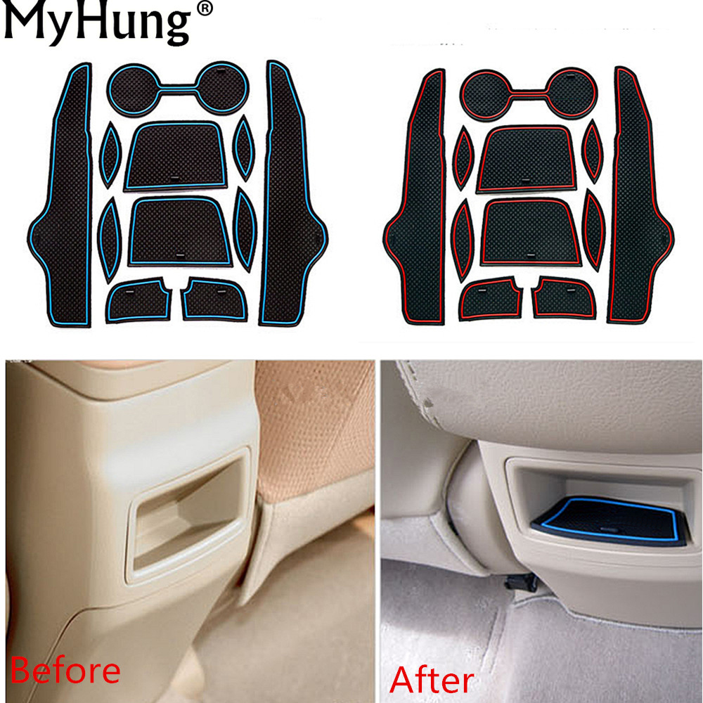 Non-slip Rubber Decorator Cup Holder Sticker Car Gate Slot Pad Door Groove Mat For Toyota Corolla 2007 To 2011  11pcs