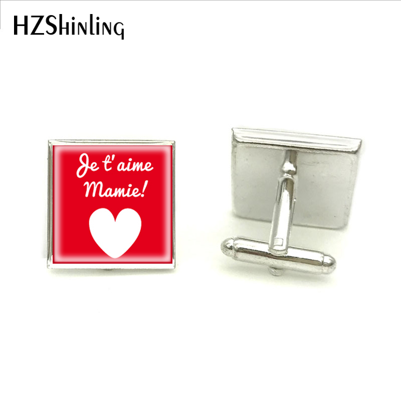Us 17 35 Off2018 New Jaime Ma Mamie Square Cufflink Grand Mere Fete Cadeau Magn Cufflinks Gifts Grandma Glass Dome Cuffs Silver Cuff In Tie Clips