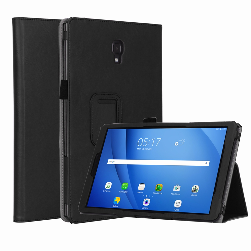 Book Flip Cover for Samsung Galaxy Tab A2 10.5 inch T590 T595 T597 2018 Tablet Case Auto Wake Sleep with Card Slots Hand Strap protective flip open pu case w hand strap holder card slots for 7 asus padfone mini black