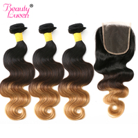 Ombre Brazilian Human Hair Weave Bundles With Closure Body Wave 3 Bundles With Closure 4 Pcs