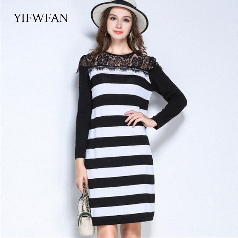 YIFWFAN 2017 Lace Striped Casual Long Sweater Knitted Women Slim Fit Fashion Pullover Fall Winter Knitwear Famale Sweater Dress