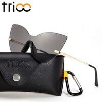 TRIOO Cat Eye Oculos Sunglasses Special Designer Mirror Sun Glasses For Women Fashion Mirror Shades Rimless