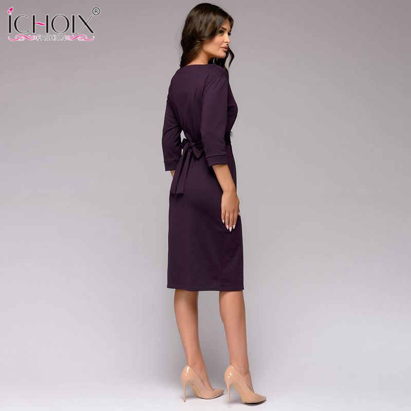 f1ffcf943ce ... ICHOIX Spring winter ladies dress 2019 work pencil dress long sleeve  midi slim women dresses office ...