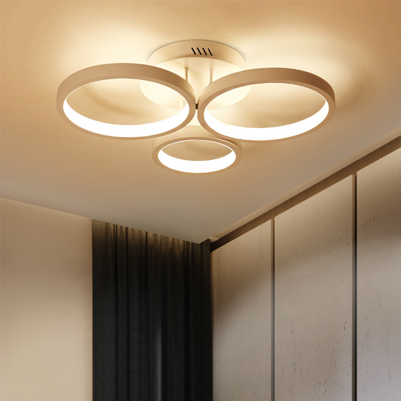 Minimalism Circle Round Led Chandelier Living Room Lustre Luminarias Lamparas Bedroom Led Dimmable Remote Ceiling Chandelier circle
