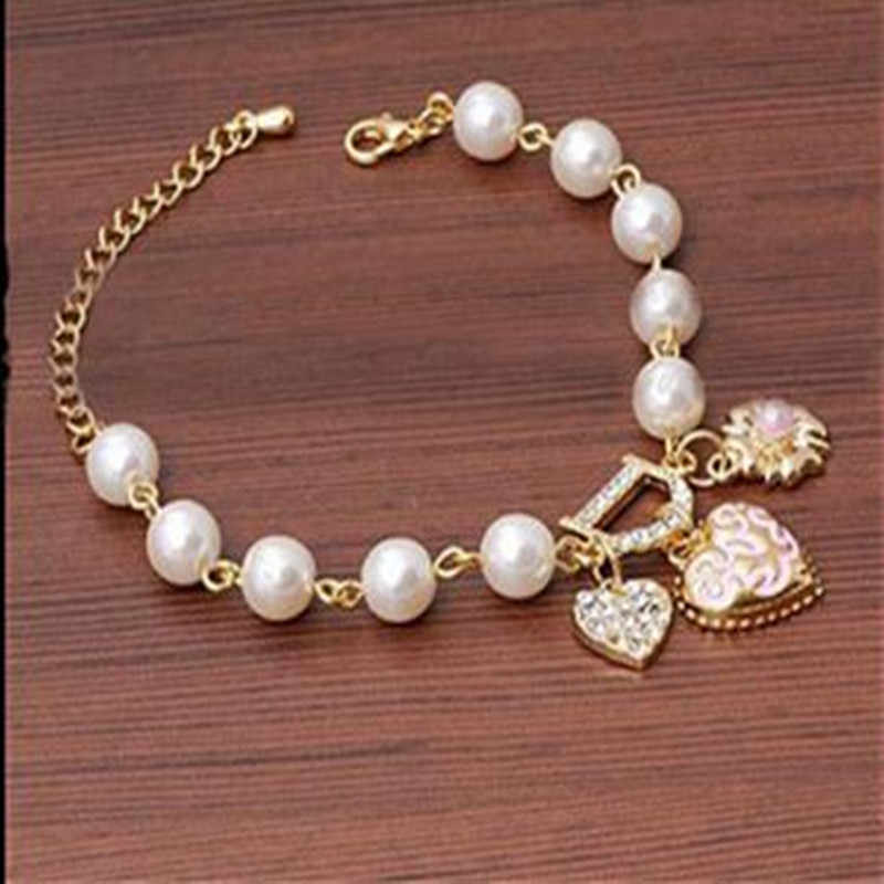 New D Letter Simulated Pearls Lovers Heart Bracelets Bangles For Women Girls Crystal Bangle Gold Color Flower Bracelet A229