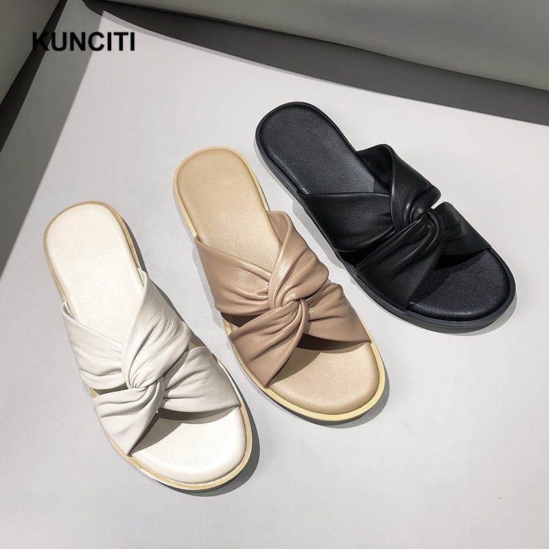 2019 KUNCITI Sheepskin Slipper Female Shoes European Genuine Leather Summer Beach Shoes Bow Knot Slides Women