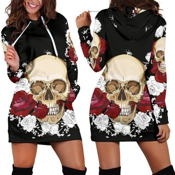Skull Rose 3D Print Hoodie Long Sleeve Mini Dress Casual