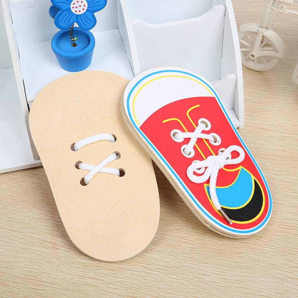Montessori Toys Educational Wooden Toys for Children Early Learning Teaching Lacing Shoes Kids Tie Shoelaces Games 1PCS