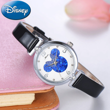 Preety Girl Mickey Mouse vacker charmig kristall klocka Unik Minnie bowknot mode casual kvarts klocka Äkta Disney 11009