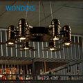 Vintage 6 arm iron camera fan shape chandelier Loft Personality Industrial LED Bulb American Style cafehose, mall shop decor