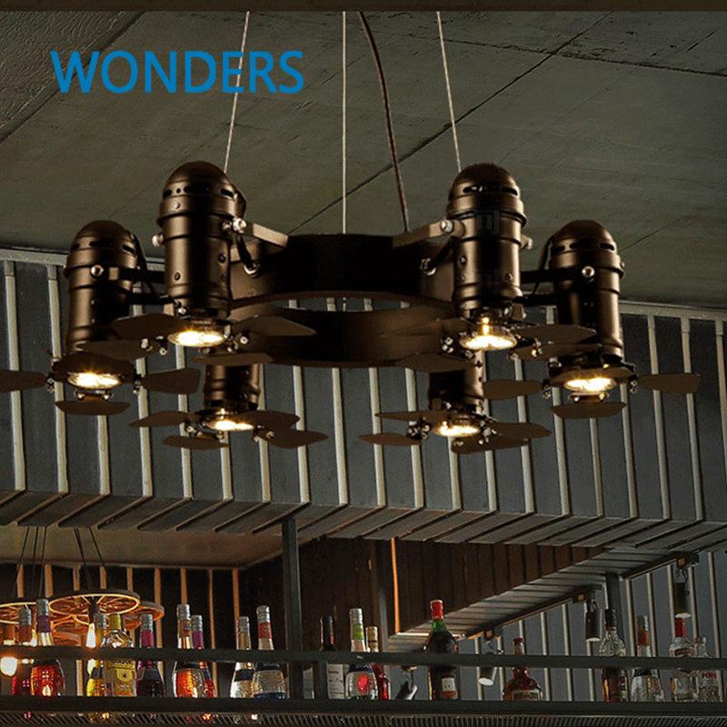 ΞVintage 6 bras de fer caméra fan forme lustre Loft