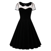 Sisjuly Women S Vintage Dress Autumn Solid Black Short Sleeve O Neck 50s Rockabilly Party Dresses