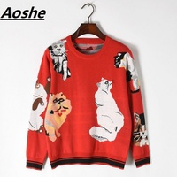 Aoshe Designer Funny Tops Lady's Sweater 2018 New Sweet 7 Cats Pattern Long Sleeve Red Knit Pullover Chic Women Jumper