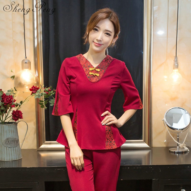 Spa uniform women two pieces set spa clothing hospital nursing uniform pants suit medical nurse scrub