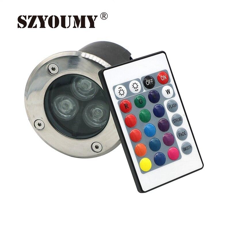 SZYOUMY 10 セット 3 ワット RGB LED Inground ライト屋外 DC 12 ボルト/AC 85 265 ボルト床ライト地下の Led ライト 24 キー赤外線コントローラ  グループ上の ライト & 照明 からの LED 埋め込み式ライト の中 1