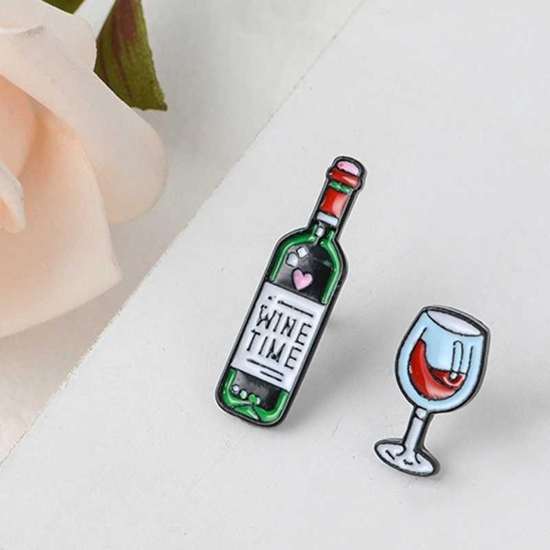 Anggur dan Kaca Enamel Pin Bros Tas Pakaian Kerah Pin Lencana Kartun Perhiasan Hadiah untuk Pecinta Teman