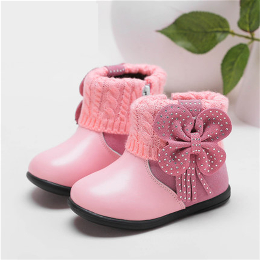 Baby Shoes First Walker Leather Winter Soft Bottom Baby's Bootees Non-slip Footwear Cute Baby Shoes Girls First Walkers 60A1044 2016 new fashion baby shoes baby first walker bow lace baby girl princess shoes non slip newborn shoes