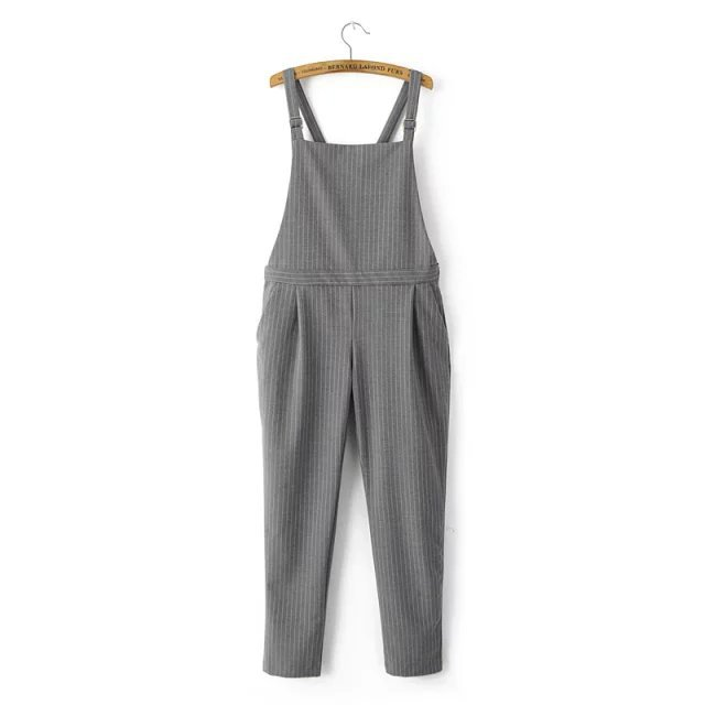 2017 Spring Summer Women's Long Pants Gray Stripe Jumpsuits Casual Slim Cotton Overalls Lady's Brand Jumpsuit