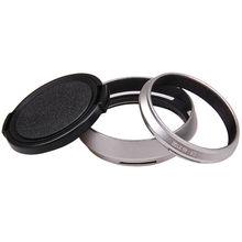 Silber 49mm Lens Adapter Ring + Metall Gegenlichtblende + objektivdeckel für Fujifilm Fuji X100 X100s X100T Ersetzen Gegenlichtblende LH X100 X70