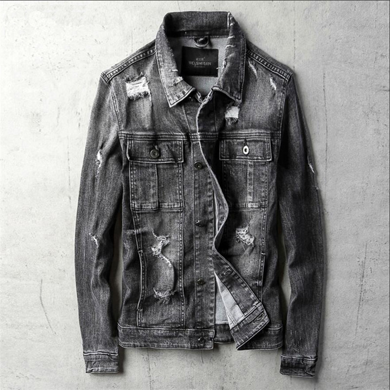New 2018 Denim Jacket Men Casual Slim Fit Jeans Jacket Male Fashion High Quality Street  ...