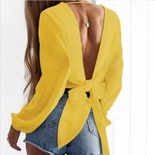 Deep V Neck Full Sleeve Crop Top Backless T-shirt