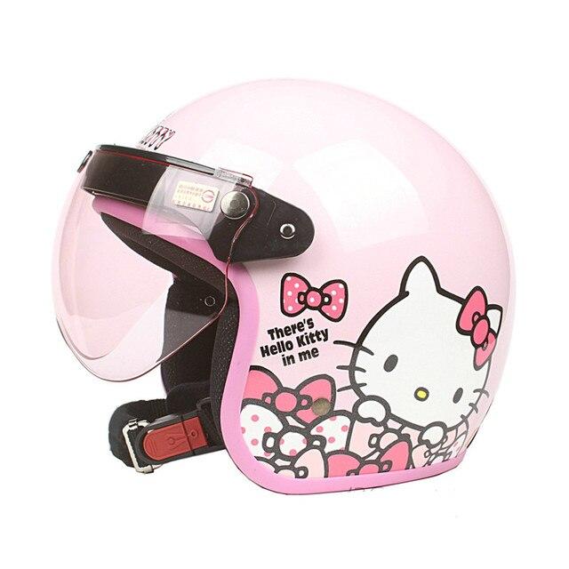 fd9cdf8b32a24 Mujer llegada de un nuevo moto rcycle casco Vintage Hola kitty casco chicas  scooter medio casco