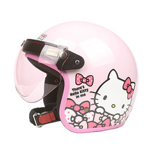 New arrival Womens motorcycle helmet Vintage Hello kitty helmet Girls scooter half helmet Pink color moto casco