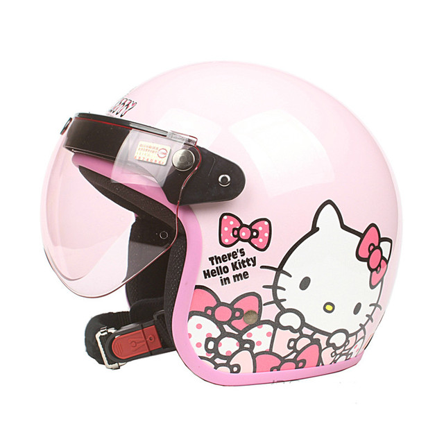 897a9640a New arrival Womens motorcycle helmet Vintage Hello kitty helmet Girls  scooter half helmet Pink color moto