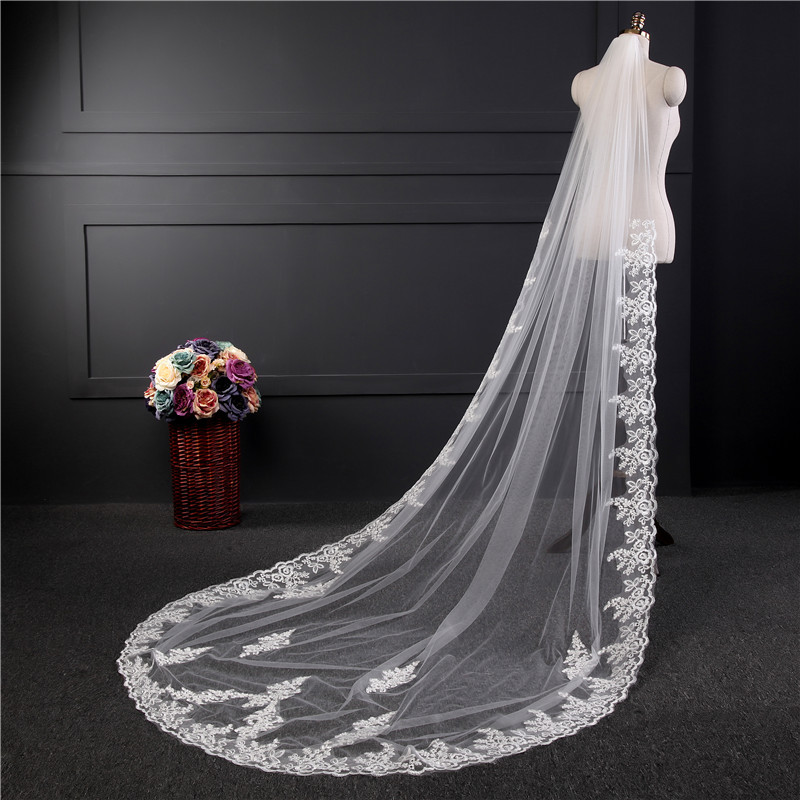 3M Lace Edge Cathedral Veil For Bride One-Layer Wedding Accessories Ivory White Appliqued Wedding Veil Veu de Noiva