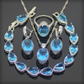 Oval Blue Created Topaz 925 Sterling Silver Jewelry Sets For Women Earrings/Rings/Pendant/Necklace/Bracelets Free Gift Box