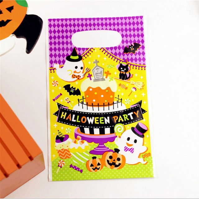 12pcs Pack Loot Bag Pumpkin Gift Baking Cookie Biscuit Candy Plastic Bags