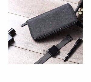 Image 3 - גבוהה באיכות Youpin 90Fun Mens עסקי ארנק כרטיס מחזיק ארנק קלאסי ארנק ארוך עור פרה עור שחור רוכסן אנטי שריטה