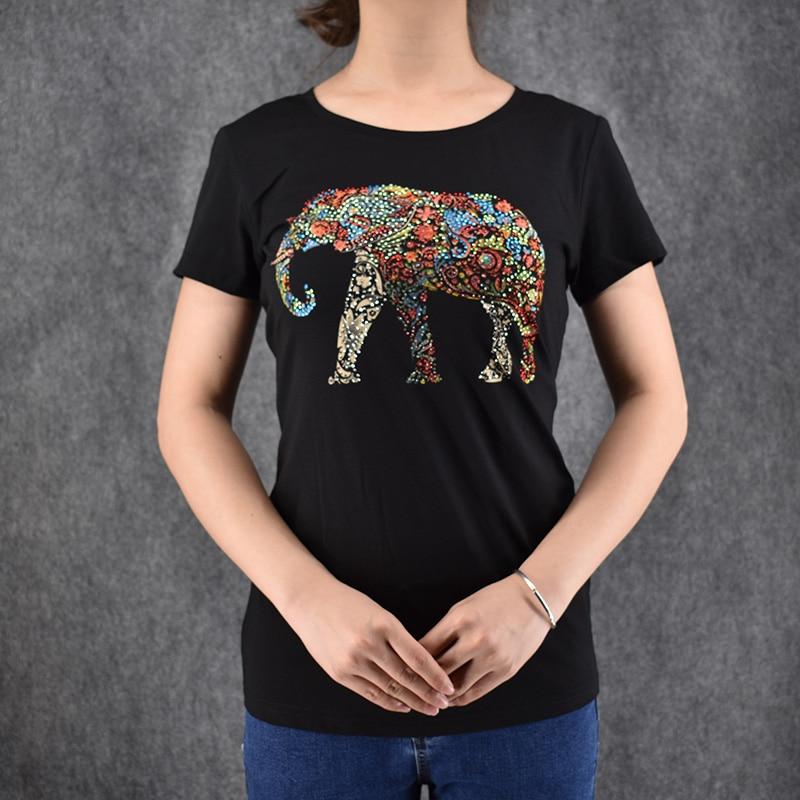 Women t shirt elephant print fashion 2016 summer new for T shirt design sleeve print