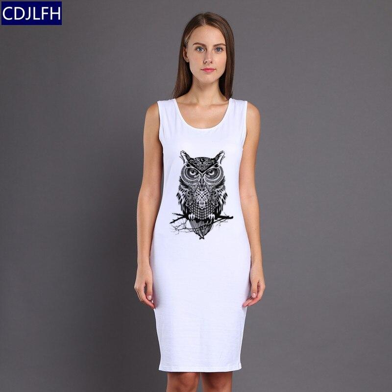 CDJLFH Style Print Sleeveless White Dress Women Vestido