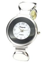 Women's Fashion Charm Infinity Cuff Friendship Round Stainless Steel Bangle Bracelet Quartz Watch