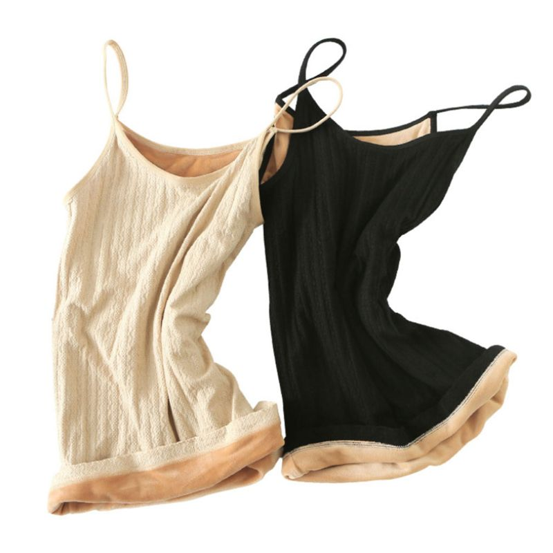 Womens Winter Warm Thickened Plush   Tank     Top   Spaghetti Straps V-Neck Slim Bottoming Vest Solid Color Camisole Shirt