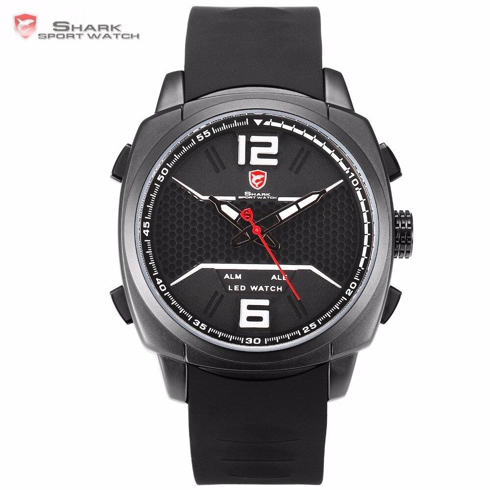 1dd428f38b30 Бренд белоперые Reef акула спортивные часы Для мужчин LED Relogio masculino  светящиеся стрелки Дата сигнализации Кварцевые Винтажные часы sh490 купить  на ...