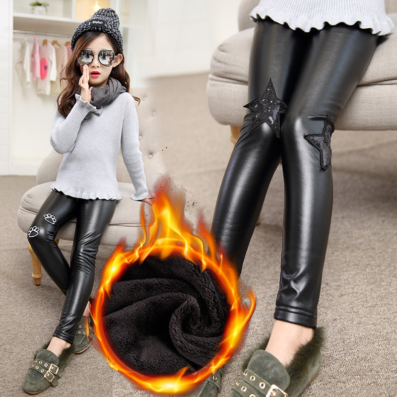 2017 new kids girls stretchy leggings children black faux PU pants Korean winter fashion slim cashmere