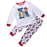 2pcs Pajama Spring Fall Cartoon Cute Brand Nightwear Pajamas Children Nighty Super Mario Kids Baby Girls