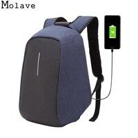 MOLAVE Backpack Backpacks Male 2017 Men Laptop Backpack External USB Charge Anti Theft Backpack Waterproof Tigernu