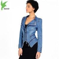 Short jacket womens 2018 spring denim motorcycle Windbreaker Plus size 6XL zipper tops Diamonds Slim female fashion jeans coats