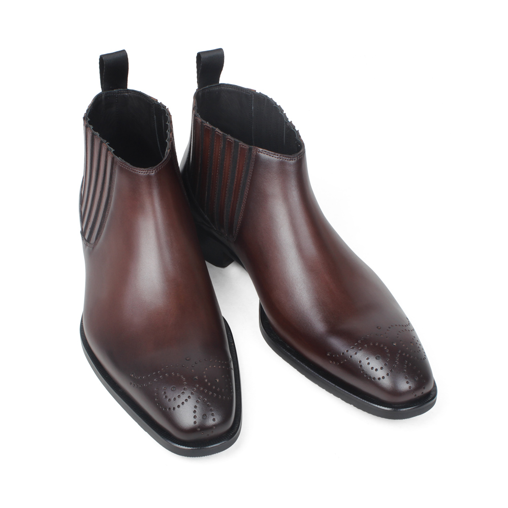 VIKEDUO Fashion Ankle Boots For Men Genuine Leather Handmade Wedding Office Mans Footwear Brogue Brown Zapato de Hombre Shoes in Chelsea Boots from Shoes