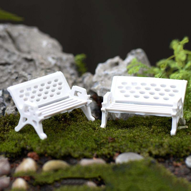 Micro Miniature Fairy Garden White Resin Wicker Settee Chair with Pink Seat KT0175