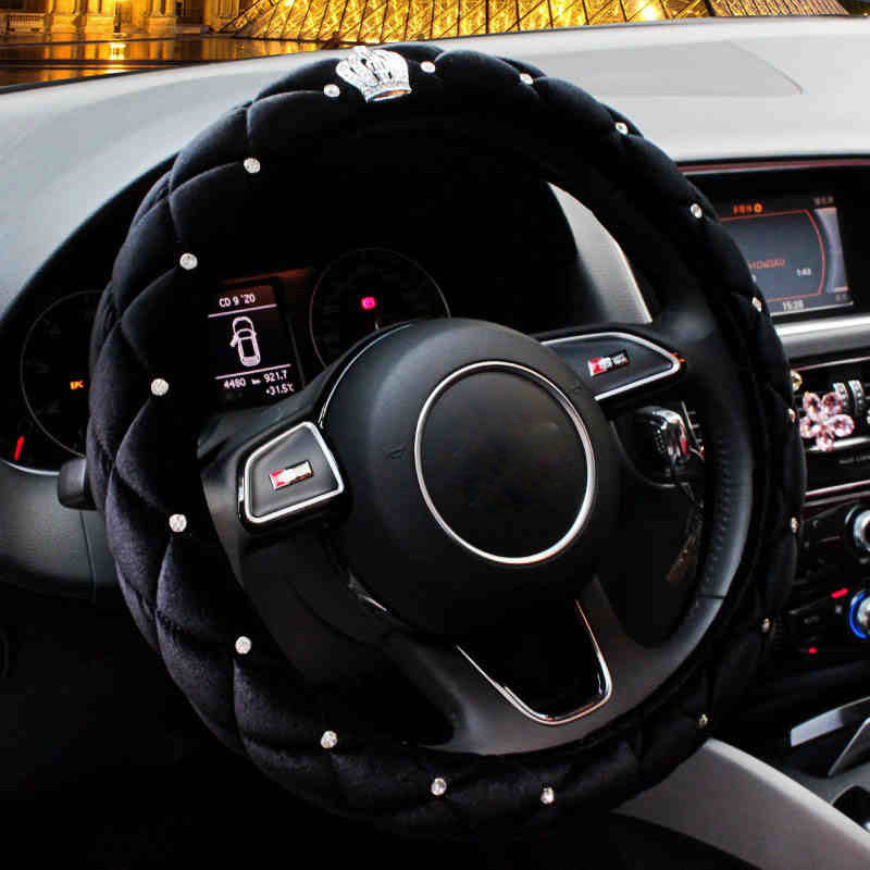 Winter Steering Wheel Cover Diamond Crystal Crown Auto Plush Fur Steering-Wheel Cover Case Black For Women Girls Styling Car
