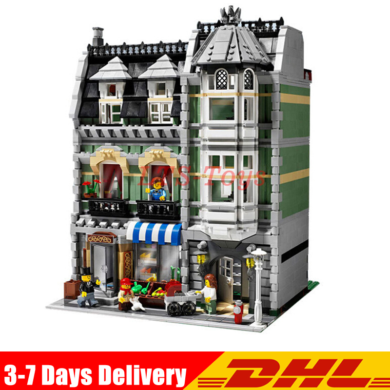 IN Stock DHL Lepin 15008 2462Pcs City Street Green Grocer Model Building Kits Blocks Bricks Compatible Legoings 10185 Toys lepin 15008 new city street green grocer model building blocks bricks toy for child boy gift compatitive funny kit 10185 2462pcs