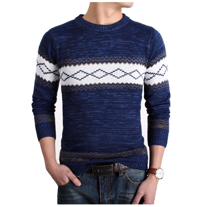 2018 New Fashion Brand Casual Sweater O-Neck Striped Slim Fit Knitting Mens Sweaters And Pullovers Men Pullover Men M-XXL