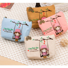 Cute Canvas Coin Bag Lovely Girls The Swing Holder Purse Small Zipper Wallet Card Purse Zip Key Case Money Clip