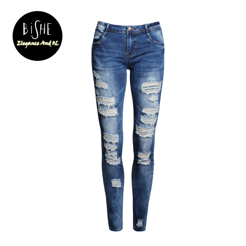 BiSHE Slim Denim Women Skinny Pants Hole Ripped Mid Waist Jeans Trousers Blue Pencil Pants Casual Cool Female Bottom Jeans
