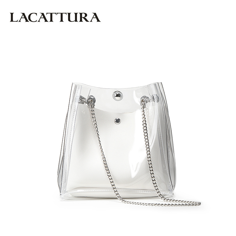 LACATTURA Luxury Bucket Handbag Women Chain Shoulder Bag Designer Purse Fashion Crossbody Bags for Lady Transparent Jelly Bag women designer leather smiley trapeze handbag luxury lady smiling face purse shoulder bag girl crossbody bag sac femme neverfull